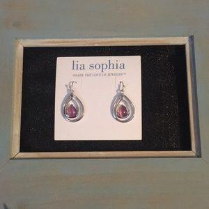 Silver and pink tear drop earrings. Lia Sophia